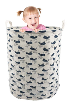"19.7"" Large Sized Waterproof Laundry Hamper Cylindric Ramie Cotton Fabric Collapsible Storage Basket (Blue) Blue"