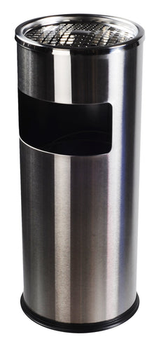 AMENITIES DEPOT Luxurious Stainless Steel Trash Can Garbage Bin with Ashtray(GPX-12B)