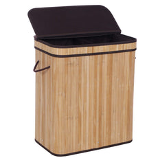 BEWISHOME Dirty Clothes Bin,Divided Bamboo Laundry Hamper with Lids, Modern Laundry Baskets with Handles and Removable Liner, Double Hamper Storage Bin, Covered Laundry Hamper, Natural YYL03Y