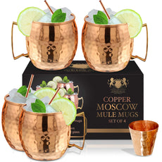 Copper Mugs Set Of 4 Moscow Mule By B.WEISS Handmade Hammered Copper Cups 100% Pure Copper +Bonus: 4 copper straws+4 coasters 1 shot mug