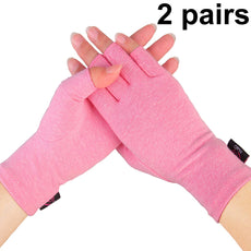 "2 Pairs - Compression Arthritis Gloves for Women, Fingerless Design to Relieve Pain from Rheumatoid Arthritis and Osteoarthritis (Pink, Medium) Pink Medium(2.63""-3.23"")"