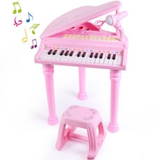 SGILE 31 Keys Musical Piano Toy with Microphone and Stool, Learn-to-Play for Girl Toddlers Kids Singing Music Development, Audio Link with Mobile MP3 IPad PC,Pink High Piano With Stool