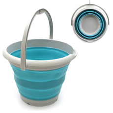 SAMMART 10L (2.6 Gallon) Collapsible Plastic Bucket - Foldable Round Tub - Portable Fishing Water Pail - Space Saving Outdoor Waterpot, size 33cm dia (1, Bright Blue) 1