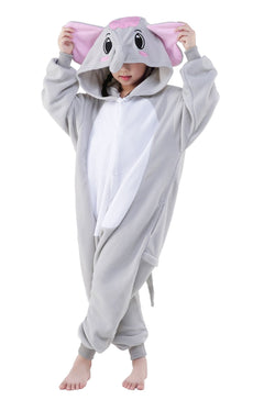 Halloween Child Pajamas Animal Cosplay Costume Anime Makeup Partywear Jumpsuit Outfit Grey Elephant L-115(recommended height 49.6-53.9 inches)