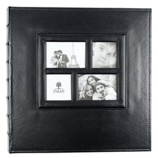 PARAH LIFE Premium 500 Photo - Family Wedding Anniversary Baby Vacation Album Sewn Bonded Leather Book Bound Bi-Directional 500 4x6 Photos 5 Per Page. - Large Capacity Deluxe Customizable (Black) Black