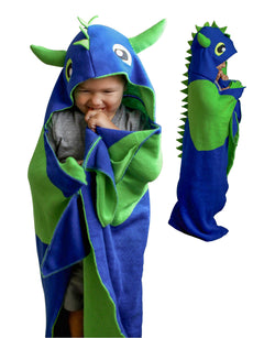 Dragon Blanket for Kids - Boys Dinosaur Gift, Cozy Wearable Blanket, Plush Hooded Kids Security Blanky, Little Boys Cuddly Blankie for Snuggle Or Nap Time, Kid Monster Costume Toys, Soft Blanket