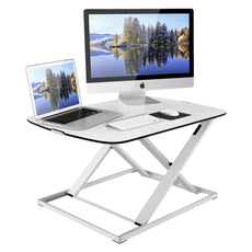 1homefurnit Standing Desk Converter Ergonomic Height Adjustable Sit Stand Desk, Large Surface 31x22 inch Fits Dual Monitors with Gas Spring Super Slim Desktop White White / Extreme Slim