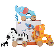 Wooden Pull Along Toy Set Of 3- Beautiful Giraffe, Elephant & Zebra Pull Along Toy For Baby Boy & Girl- The Best Toy For 1-Year Olds and up- Outdoor & Indoor Toy For Babies & Toddlers- Child Safe Toy