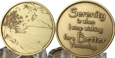 Serenity Is When I Stop Wishing For A Better Yesterday - Peace Lake Scene Pocket Medallion Chip Token