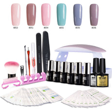 Modelones Gel Nail Polish Starter Kit, with 6W LED Lamp Base Top Coat, 6 Gels in Tiny Bottles, Portable Nail Gel Kit for Travel Kit 1