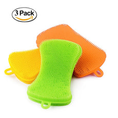 Double Sided ANTI-BACTERIAL Silicone Sponge Scrubber | kitchen sponge | Silicone dish sponge | Cleans Pans Pots Dishes Fruits Vegetables