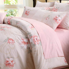Brandream Pink Girls Floral Bedding Sets 100% Egyptian Cotton Duvet Cover Sets King Size 3-Piece(Sheets Sold Separately) Pink2 3pc-King