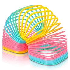 "ArtCreativity Jumbo Square Coil Spring Toy for Kids | Giant Slinky Toy | 4.75"" Giant Plastic Rainbow Colored Slinkie 