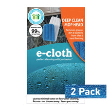 E-Cloth Deep Clean Mop Head - Official - Durable Premium Microfiber Damp Mop Head - Use With Just Water for Chemical-Free Floor Cleaning - 2 pack Damp Mop Head 2-Pack