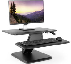 "VIVO Black Small Height Adjustable Standing Desk Monitor Riser - 25"" Tabletop Sit to Stand Gas Spring Workstation (DESK-V001G) 25"" Desk Riser"