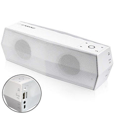Portable Bluetooth Speaker Wireless Speakers Bass Stereo Speaker Outdoor Seapkers Handsfree Call with Mic FM Radio TF Card Slot for Smartphones Samsung Huawei iPhone and Other Bluetooth Devices White