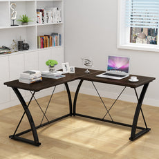 Decho Modern L-shaped Desk Corner Computer Desk PC Latop Study Table Workstation Home Office Wood&Metal(Walnut) Walnut+Black leg