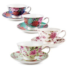 BTäT- Floral Tea Cups and Saucers, Set of 4 (7oz) with Gold Trim and Gift Box, Cappuccino Cups, Latte Cups, Tea Set for Adults, Porcelain Tea Cups, Tea Cups for Tea Party, Rose Teacups, China Tea Cups