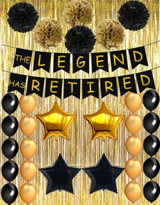 Retirement Party Decorations - The Legend Has Retired Banner Decoration Kit (48PCS), Retirement Party Supplies Gifts and Decor Including Gold Foil Curtain for Background Photo Props TD004