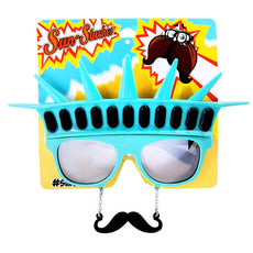 Sunstaches Statue of Liberty with Black Mustache Sunglasses, Instant Costume, Party Favors, UV400