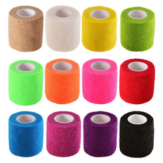 Pangda 12 Pieces Adhesive Bandage Wrap Stretch Self-Adherent Tape for Sports, Wrist, Ankle, 5 Yards Each (12 Colors, 2 Inches) 12 Colors