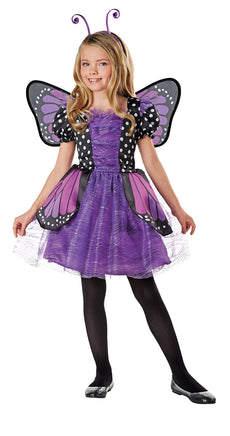Seasons Direct Halloween Girl Brilliant Butterfly Purple Costume with Wing & Headband M(8-10)