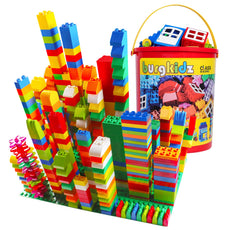 burgkidz Large Building Blocks, 214 Pcs Kids Toddler Educational Toy Classic Big Size Building Blocks Bricks with Reusable Storage Bucket