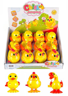 [Variety Bundle] 1 Dozen Wind-Up Plastic Jumping Chicken Duck Goose Assortment Party Favors (Pack of 12)