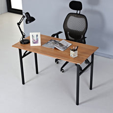 AUXLEY Computer Desk Modern Simple Writing Desk 47 inch for Home Office Study, Wood and Metal Folding Table Teak Black, No Assembly Required 47""