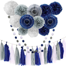 Tissue Paper Flowers Grey Navy Blue White Pom Poms Paper Lanterns Dot Garland Party Girl Decorations Tassel Garland for Wedding Bridal Shower Bachelorette Celebrate First Birthday Graduate Supplies