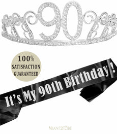 MEANT2TOBE 90th Birthday Tiara and Sash, 90 & Fabulous Black Glitter Satin Sash and Crystal Tiara Birthday Crown for 90th Birthday Party Supplies and Decorations (Tiara+Sash) (Silver) Silver