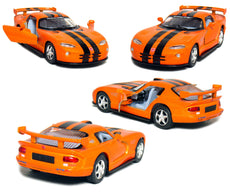 "5"" Die-cast Metal, Dodge Viper GTR-S with Pull Back n Go Action (Orange)."