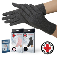 Doctor Developed Full Fingered Arthritis Compression Gloves (Grey) and Doctor Written Handbook - Soft with Mild Compression, for Arthritis, Raynauds Disease & Carpal Tunnel (Medium) Grey Medium