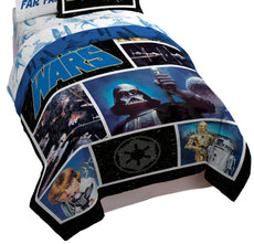 Star Wars Classic Logo Twin/Full Comforter - Super Soft Kids Reversible Bedding features Darth Vader - Fade Resistant Polyester Includes 1 Bonus Sham (Official Star Wars Product) Comforter, Twin/Full