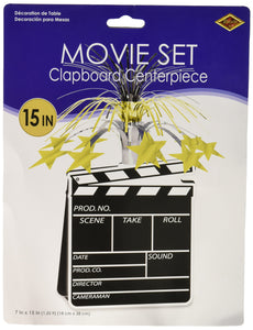 Movie Set Clapboard Centerpiece Party Accessory (1 count) (1/Pkg) Black/Silver/Gold 15""