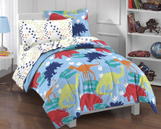 Dream Factory Dinosaur Prints Boys Comforter Set, Multi-Colored, Twin Red