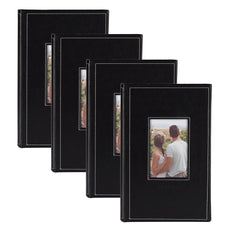 DesignOvation Debossed Black Faux Leather Photo Album, Holds 300 4x6 Photos, Set of 4 3up
