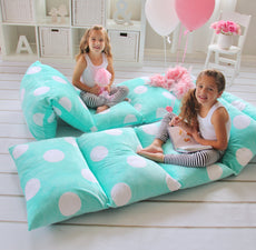 Butterfly Craze Girl's Floor Lounger Seats Cover and Pillow Cover Made of Super Soft, Luxurious Premium Plush Fabric - Perfect Reading and Watching TV Cushion - Great for SLEEPOVERS Slumber Parties Aqua Blue Queen Size