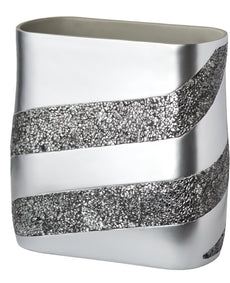 "DWELLZA Silver Mosaic Bathroom Trash Can (11"" x 5.5"" x 11"") Decorative Wastebasket- Resin Waste Paper Baskets Design- Space Friendly Bath Rubbish Trash Can (Silver Gray)"