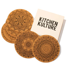 Kitchen Kulture Cork Coasters for Drinks, Set of 8, Round 4 inches, Absorbent, Protects Furniture, Pattern Designs: Fractal / Geometric/ Mandala, Bar Size, Eco Material, Perfect for Holidays Mandala Print 4 inch
