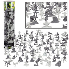 SCS Direct Zombie Action Figures - Big Bucket of 100 Zombies - Zombies, Pets, Graves, and Humans For Halloween Parties