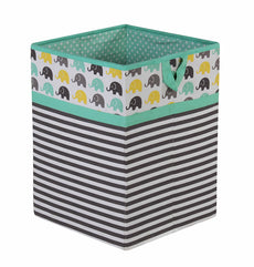 Bacati Elephants Unisex Fabric Collapsible Hamper, Mint/Yellow/Grey