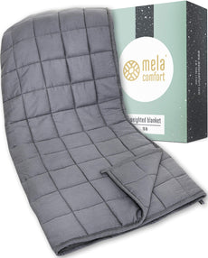 Mela Comfort Weighted Blanket - 15LBS - Adult Queen Size - Helps Maximize Relaxation & Reduce Stress - Ideal for Calming Anxiety & Insomnia
