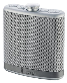 iHome iBT12SC Rechargeable Flask Shaped Bluetooth Stereo Speaker Silver