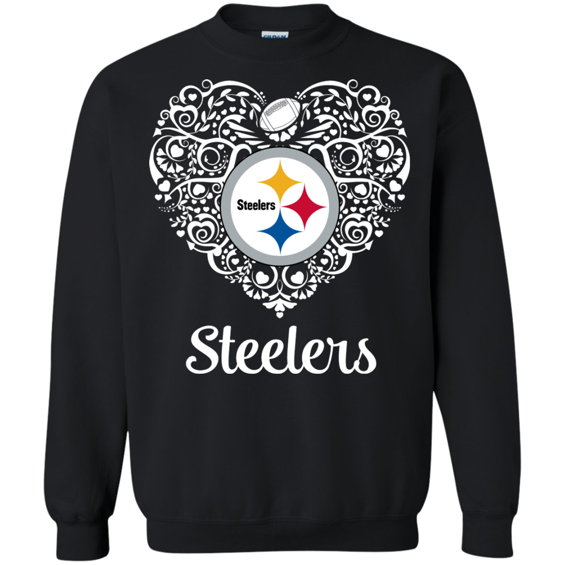 Pittsburgh Steelers Football Lace Heart With Logo T Shirt