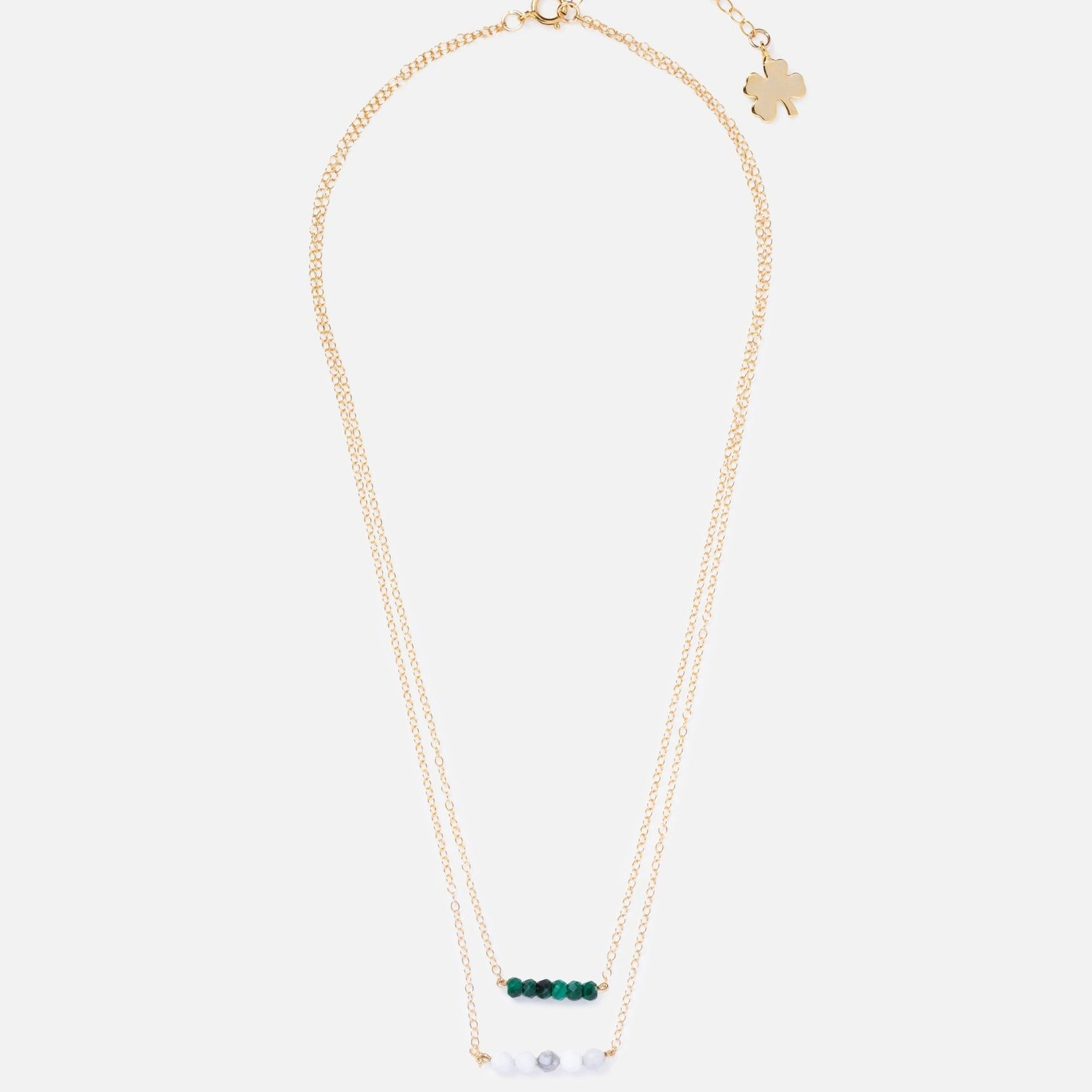 Gold Clover Double Bar Necklace