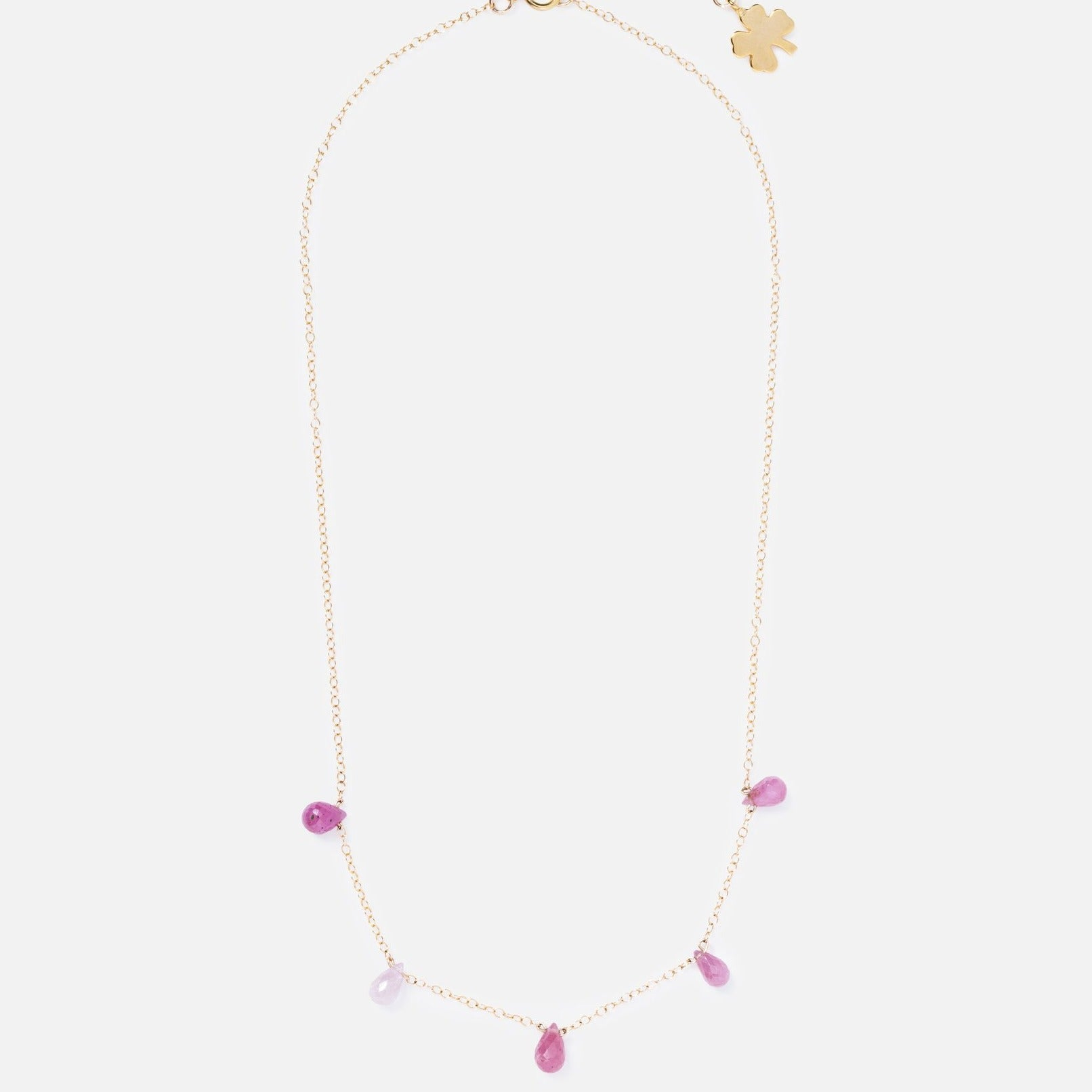 Gold Clover Emma   Drop Ruby Necklace