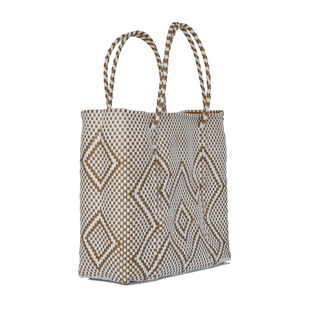 Cangrejo White/Gold Tote