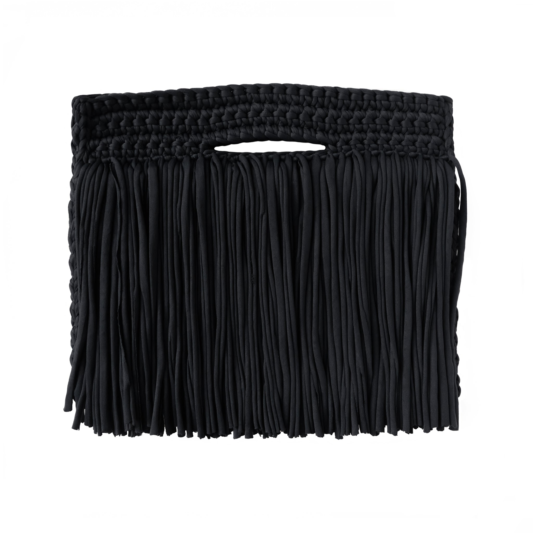 Binge Knitting Clutch Fringes Over Recycled Cotton
