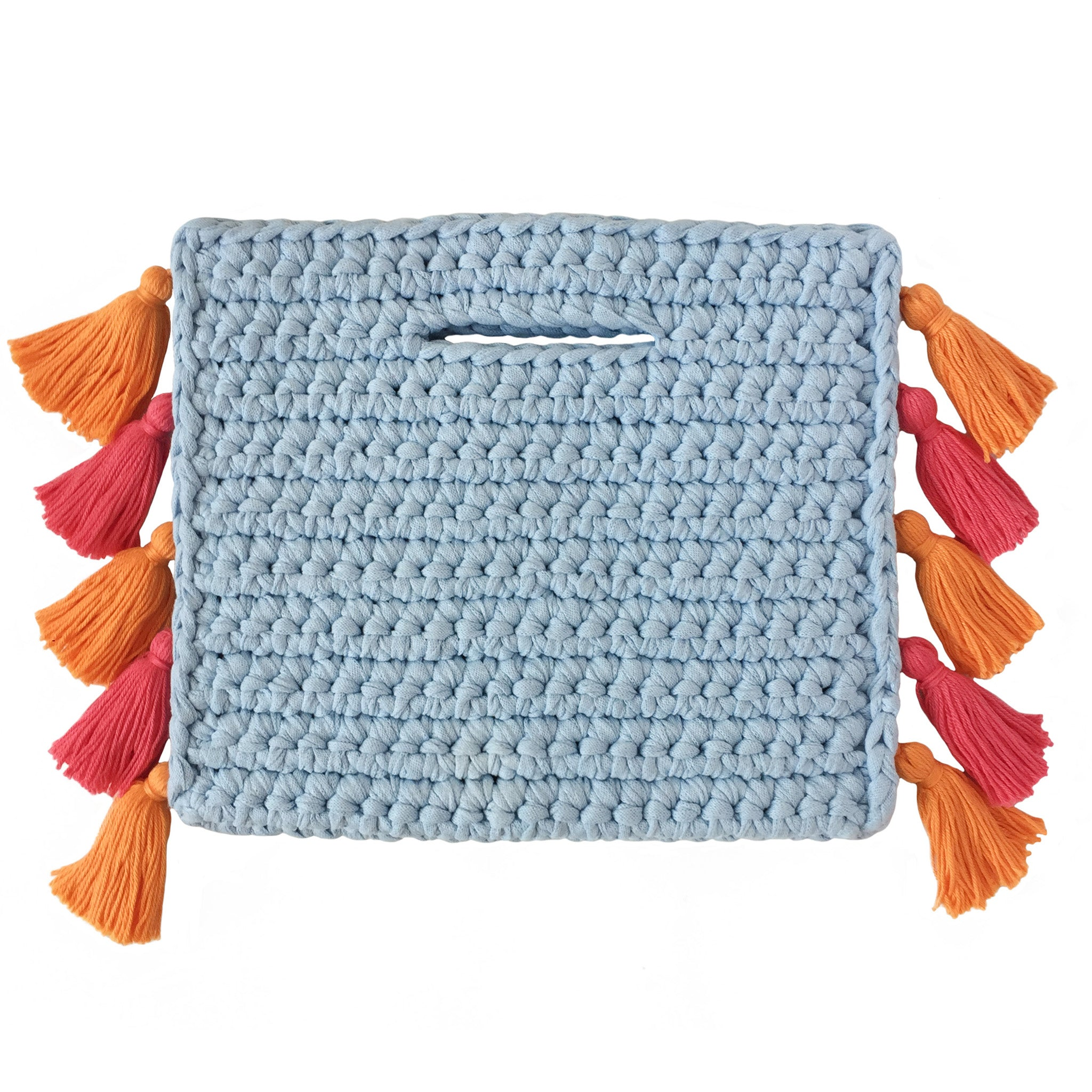 Binge Knitting Clutch Pom Poms on Side